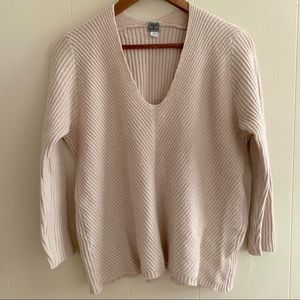 Poof V-Neck Long Sleeve Pullover Stretchy Sweater